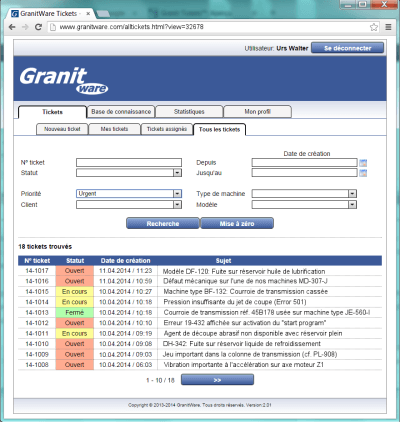 GranitTickets offre des interfaces facilitant la gestion des incidents