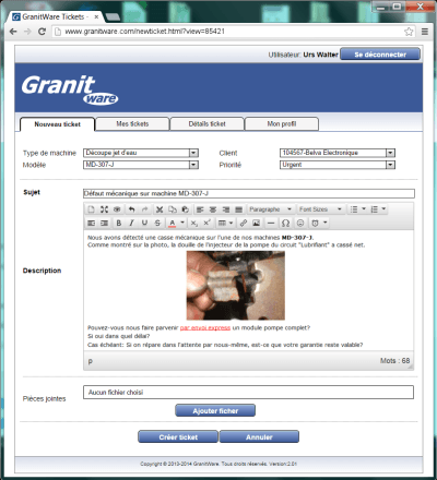 GranitTickets has a developed text editor
